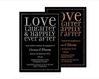 Engagement Invitations | 'Love, Laughter & Happily Ever After' | Black Gold Silver Glitter