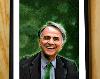 Carl Sagan Handmade Color Pencil Portrait Fan Art Print Poster