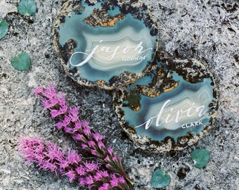 Custom Agate, Quartz, or Tile Place Card (Labor Fee Only)