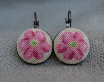 Embroidered Pink Flower Cross Stitch Earrings Embroidered Jewelry Flower Unique Earrings Handmade Pink Flower Round Earrings Gift For Her