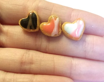 Dark Chocolate, White Vanilla, and Pink Strawberry Iced Clay Heart Shaped Sugar Cookie Miniature Food Earrings
