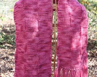 scarves, scarf, knitted scarves, rose scarves, rose scarf, hand knit scarves, hand knit scarf, fringed scarves, fringed scarf, knitted scarf