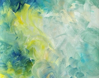 Blue Abstract Painting Abstraction Original Art Modern Artwork Blue White Yellow - Mist by Caerys Walsh A4