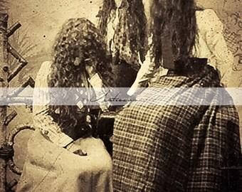 Antique Photograph Long Hair Girls - Digital Download Printable - Paper Craft Scrapbook Altered Art - Vintage Portrait Creepy Dark Unusual