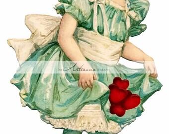 Printable Instant Download - Vintage Valentine Hearts Girl Victorian- Paper Crafts Scrapbook Altered Art - Antique Valentine's Day Card Art