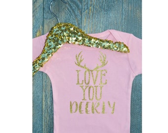 Love you deerly, baby bodysuit