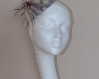 Small grey and natural feather hat. Gray feather hat. Grey wedding hat. Ascot hat. Derby hat. Gray fascinator. Grey fascinator.