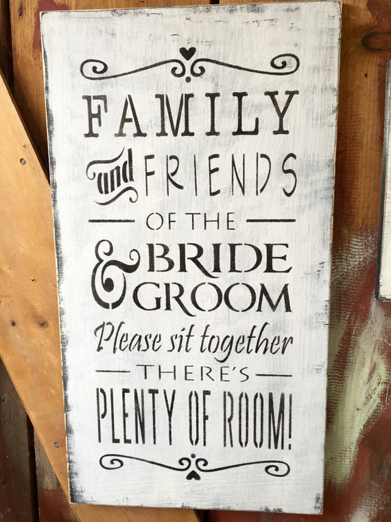 Family Friends Wall Decor : Family and friends wall art wedding seating wood sign handmade