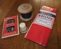 Vintage J & P Coats Wooden Spool, Woolco Needles, Boiltex Bias Tape, and Thimble