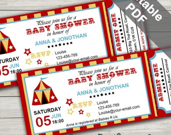 Carnival Baby Shower Invitations. Editable/Printable. Instant Download.