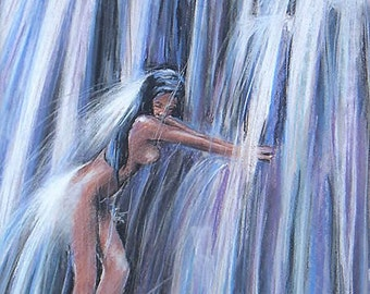 Pastel drawing, The girl, modern mermaid, under the waterfall by a hot summer day Pastel 40x50cm