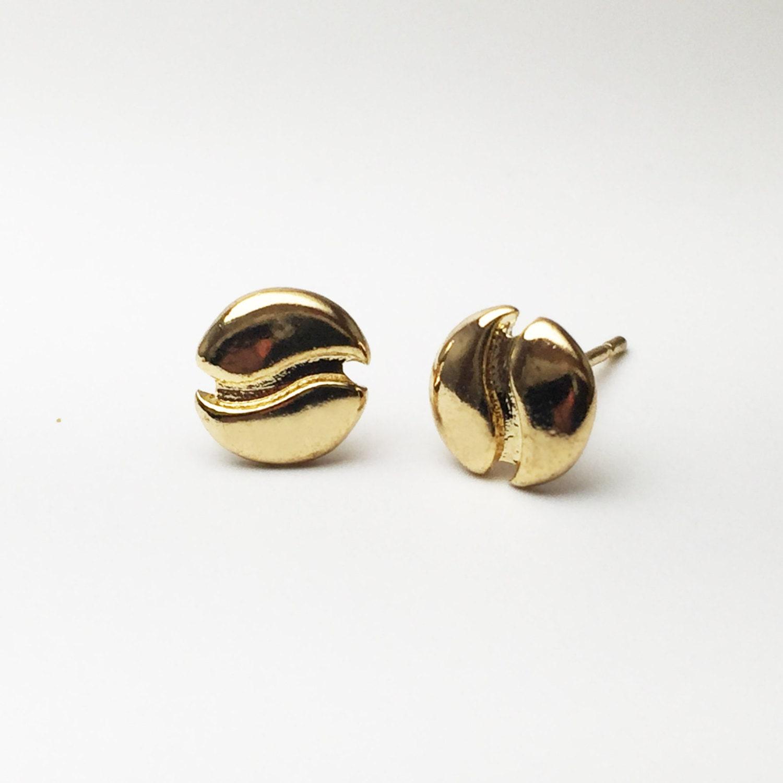 coffee bean earrings stud earrings gold by thefriskylizard