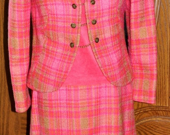 Vintage 1960's, Custom Made, Three Piece Suit, Size 2-4 Suit, Vintage Suit, Custom Suit, Jackie Kennedy Style Suit, Camelot Style Outfit