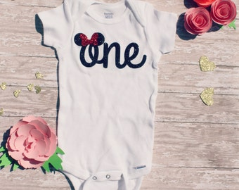 Minnie Mouse I Mickey Mouse I First Birthday Outfit | One Bodysuit | Photo Prop | First Birthday | Custom Glitter | Disney Inspired