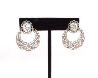 Crystal and Silver Earrings, Vintage Crystal Silver Earrings, Ornate Earrings, Glamours Earrings