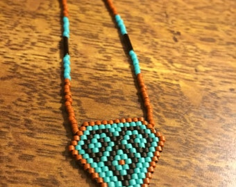 Comanche Stitch Beaded -Teal, Brown, & Black - Necklace