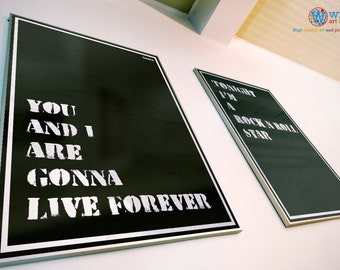 """Oasis Poster - Live Forever """"You and I are gonna live forever"""" - print / art - Song Lyric Typography"""