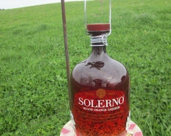 Solerno Blood Orange  Liqueur Liquor Bottle Bird Feeder with Saucer, upcycled, recycled bottle