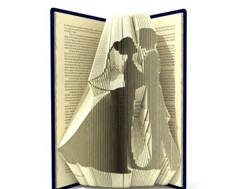 Book folding pattern - BRIDE and GROOM - 227 folds + Tutorial with Simple pattern - Heart - WE0201