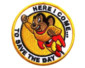 Mighty Mouse patch Embroidered patch Iron on patch Sew on patch Applique