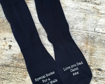 Wedding socks for father of the groom- special walk socks - gifts for dad- socks for dad- brides dads socks- brides fathers socks
