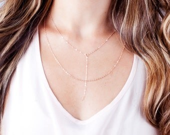 Rose Gold Lariat Necklace, Rose Gold Y Necklace, Dainty Y Necklace, Short Y Necklace, Chain Drop Necklace, Choker Y Necklace, Minimal Chain