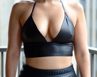 Genuine Leather Bralette size M-L, Black Leather Halter Top, Leather Bralette, Black Leather Crop Top, Black Leather Bra, Black Leather Top
