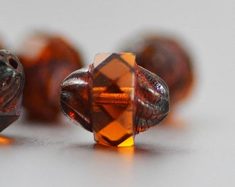 Czech Glass Turbine Beads in Amber Brown with Picasso Finish 11x10mm