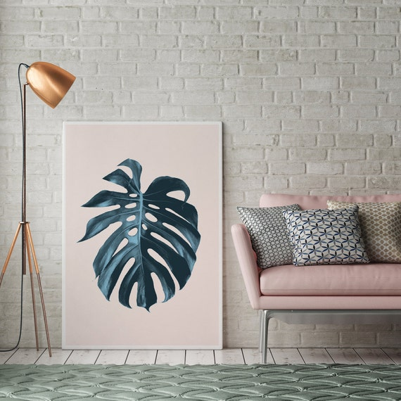 Monstera leaf print botanical print wall decor minimal wall for Minimal art wall