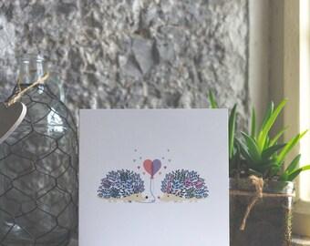 Hedgehog Card anniversary in love greetings card, hedgehog love blank card