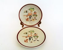 Children's Dining Porcelain Set, Kahla GDR, Porcelain Plate and Bowl,  Hand Painted Plate and bowl,  60s