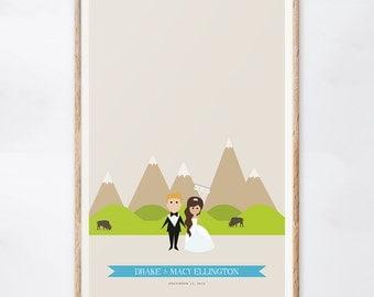 Custom Mountain Wedding Sign, Western Wedding Guest Book Alternative, Mountain Range Print, Gift for the Couple, Guestbook Ideas