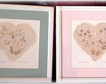 Framed Dried Wildflower Pictures, Pair, Flower Spray and Multi-Color