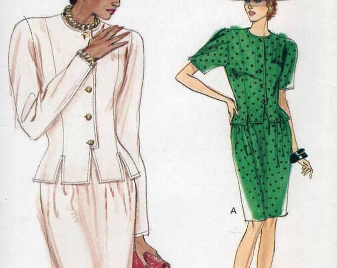 Free Us Ship Sewing Pattern Vogue 7407 Vintage Retro 1980s 80s  Suit Jacket Skirt  Size 6 8 10 Bust 30.5 31.5 34 Uncut