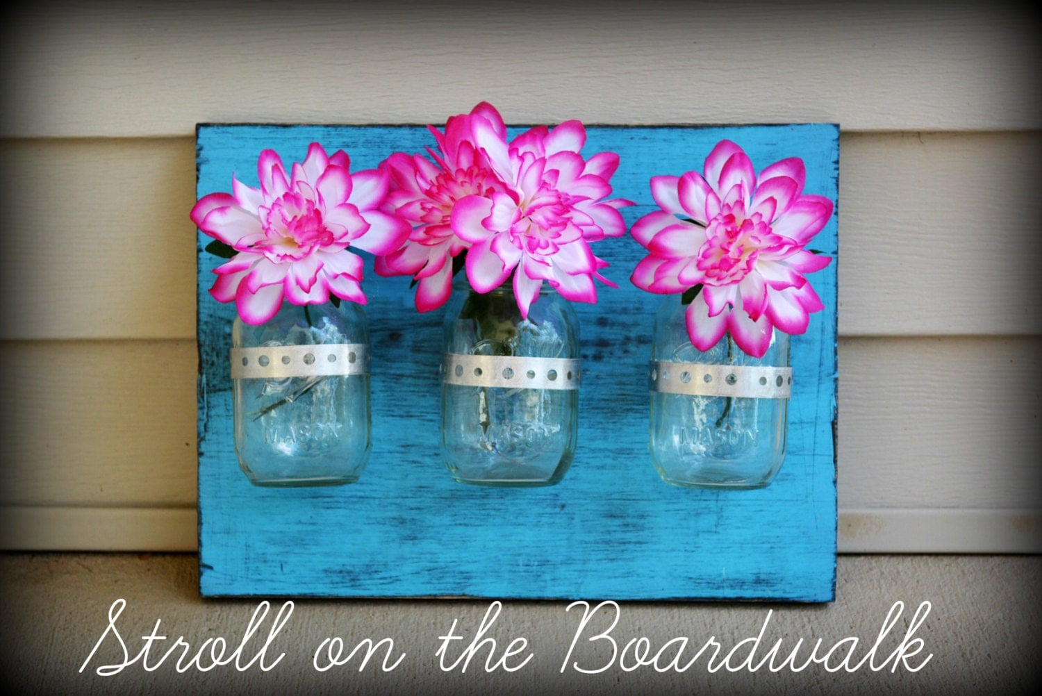 Wall Decor With Mason Jars : Wall decor blue mason jars board by strollontheboardwalk