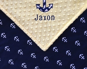 Anchor Baby Blanket, Nautical Anchor Baby Blanket, Yellow Minky Anchor Blanket, Nautical Theme, Baby Shower Gift, Personalized Baby Blanket