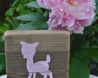 Deer Nursery Decor, Baby  Fawn, Rustic Sign, Reclaimed Wood, Baby Girl Nursery, Wood Block