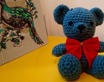 Blue Tweed Amigurumi Teddy Bear