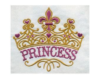 Fleur De Lis and Heart Ornate Princess Crown Embroidery Design - Instant Digital Download