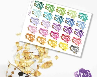 Mom Life - Fun Colorful Words, Glitter Hearts - 25 stickers, 1 sheet - Perfect for use in any planners such as ECLP