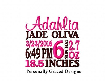 Made to Order Custom Personalized Birth Announcement Digital Embroidery Design-Birth Info Embroidery, Baby Nursery Embroidery Design, Subway