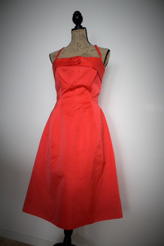 1960s dress red 60s dress vintage duschess prom wedding gown
