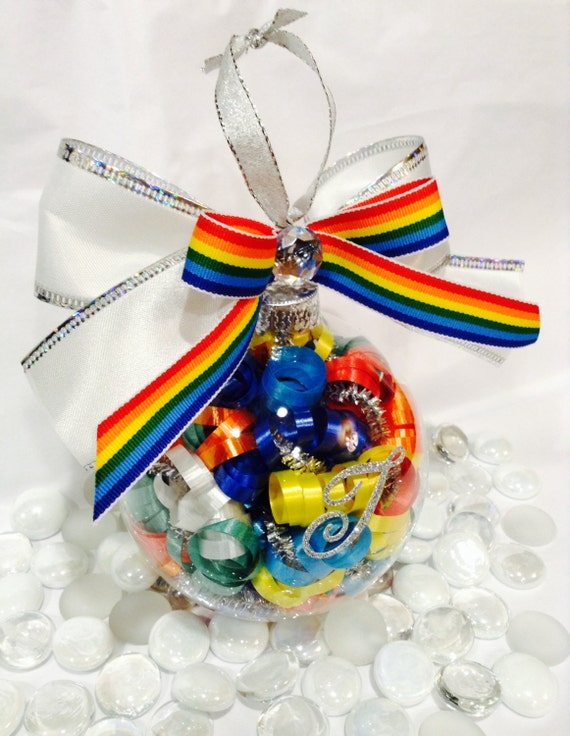 Personalized gay pride glass ornament rainbow theme christmas