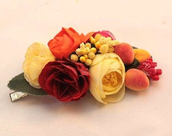 hair clip barrette, peach roses flower hair barretes, bridal hair accessories, hair accessories for women, handmade hair clip, Three Snails