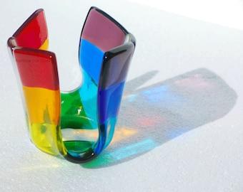 Rainbow Tealight Holder Fused Glass