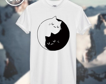 Yin Yang Cats Kittens T-SHIRT unisex top 100% Vegan Products and Prints!