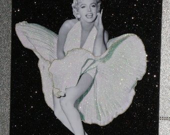 Marilyn Monroe Black Glitter  Sparkle Canvas Print, wall art. Any Size!