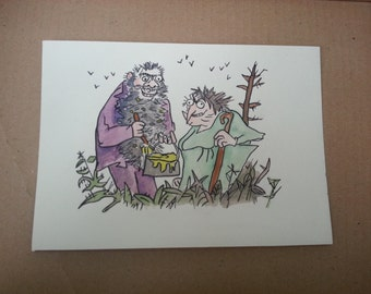 The Twits Small Watercolour Painting Roald Dahl Quentin Blake Hand Painted, A5/A4, 10x8 inches