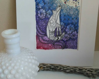 Original Coyote Moon Abstract 5x7 Art