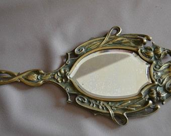 French Art Nouveau Woman Bronze Hand Mirror - Woman Profile & Flowers